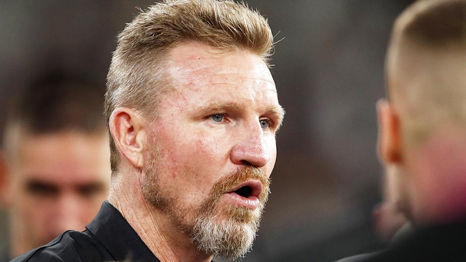 Nathan Buckley is under pressure after the Magpies fell to a 1-3 start thanks to their loss to the GWS Giants last weekend. (Photo by Dylan Burns/AFL Photos via Getty Images)