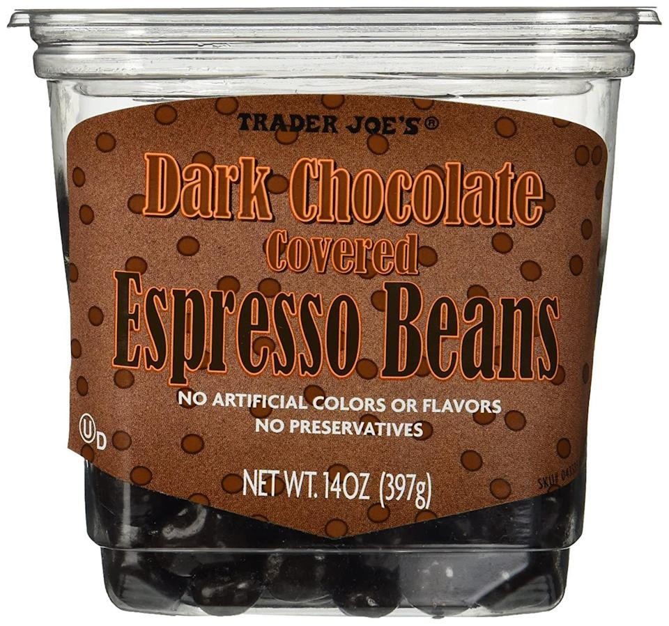 """<p><strong>Trader Joe's</strong></p><p>amazon.com</p><p><strong>$23.60</strong></p><p><a href=""""https://www.amazon.com/dp/B00I86NLVI?tag=syn-yahoo-20&ascsubtag=%5Bartid%7C10055.g.29250426%5Bsrc%7Cyahoo-us"""" rel=""""nofollow noopener"""" target=""""_blank"""" data-ylk=""""slk:Shop Now"""" class=""""link rapid-noclick-resp"""">Shop Now</a></p><p>Take it from us, these chocolate-covered espresso beans are a tad dangerous — they're that addictive. This set comes with two packs, so gift one to your friend and keep one for yourself (they'll never know). </p>"""