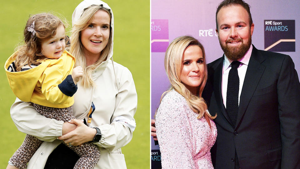 Shane Lowry, pictured here with his wife in 2020.