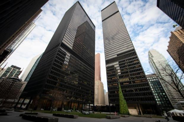 The Toronto-Dominion Centre bank towers in Toronto are shown in December. With more employees working from home due to the COVID-19 pandemic, the supply of available office space in cities across the country has grown. (Evan Mitsui/CBC - image credit)