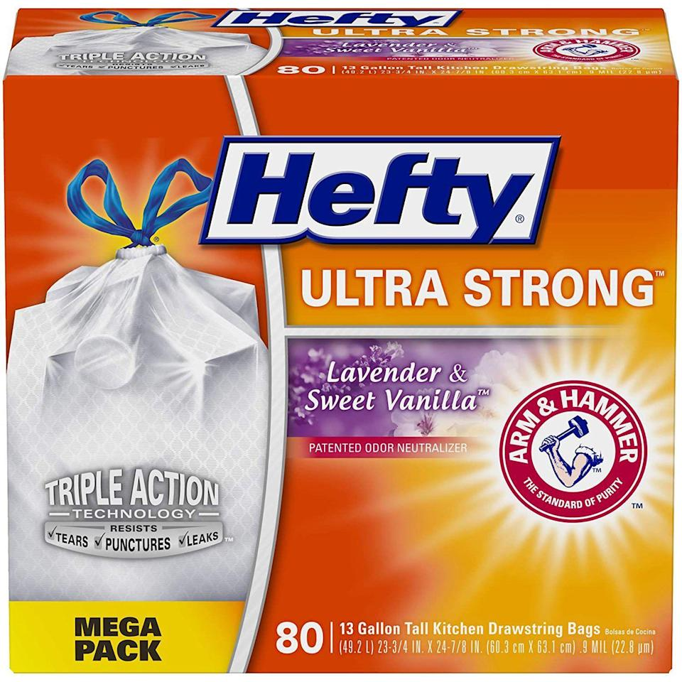 """<p><strong>Hefty</strong></p><p>amazon.com</p><p><strong>$12.14</strong></p><p><a href=""""https://www.amazon.com/dp/B01BZ0LXL8?tag=syn-yahoo-20&ascsubtag=%5Bartid%7C10048.g.35202518%5Bsrc%7Cyahoo-us"""" rel=""""nofollow noopener"""" target=""""_blank"""" data-ylk=""""slk:Shop Now"""" class=""""link rapid-noclick-resp"""">Shop Now</a></p><p>Leave only footprints when camping with or without a vehicle. That means taking your garbage with you. You probably don't need the whole box, but bring more than you think you should.</p>"""