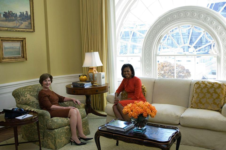 <p>First Lady Laura Bush meets with future First Lady Michelle Obama in the private residence of the White House on November 10, 2008.</p>