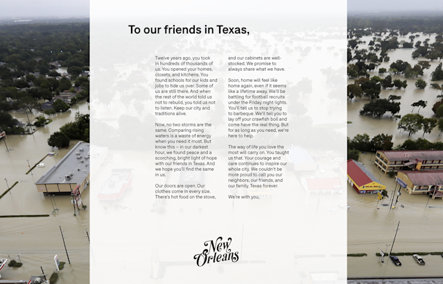 The letter from New Orleans to Texas was published in Sunday's Houston Chronicle. (Background photo: AP/David J. Phillip)
