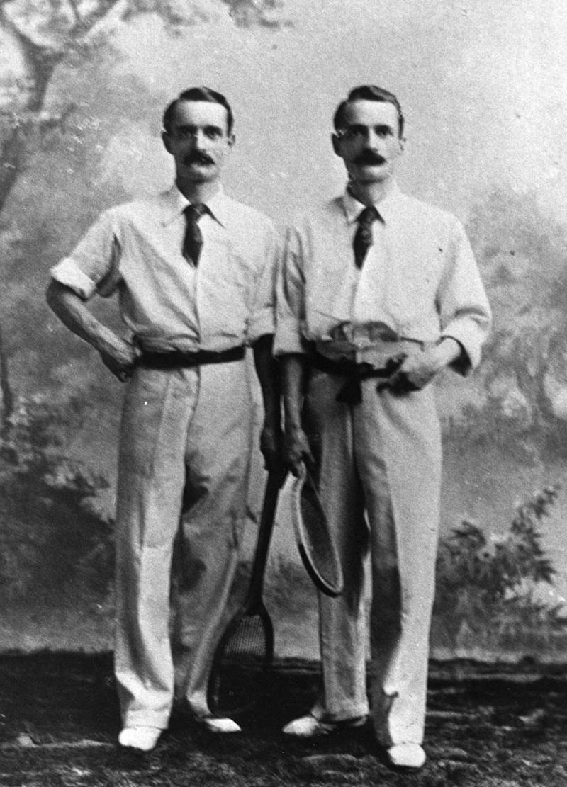 circa 1895: British tennis twins Herbert and Wilfred Baddeley. (Photo by Keystone Features/Getty Images)