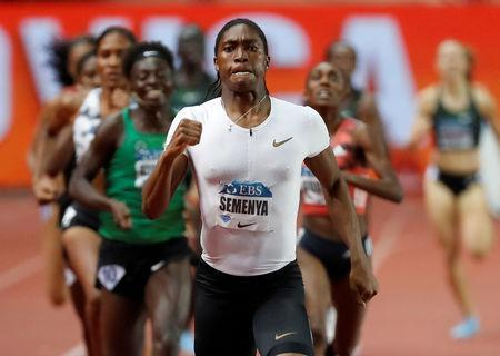FILE PHOTO: Athletics - Diamond League - Monaco - Stade Louis II, Monaco - July 20, 2018 South Africa's Caster Semenya wins the Women's 800m REUTERS/Eric Gaillard/File Photo