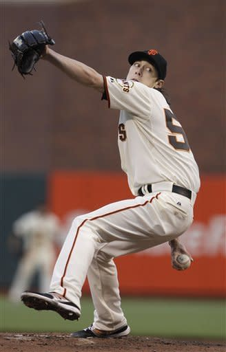 San Francisco Giants' Tim Lincecum pitches to the Colorado Rockies during the second inning of a baseball game in San Francisco, Tuesday, May 15, 2012. (AP Photo/Jeff Chiu)