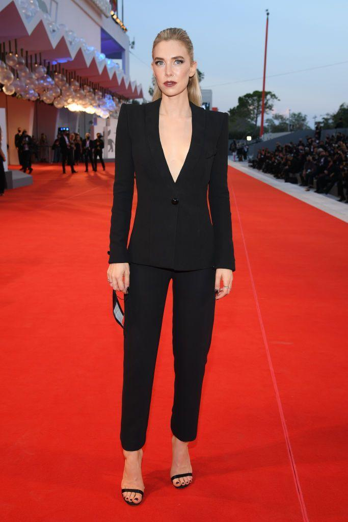 <p>Kirby sported a perfectly tailored black suit and slicked back hair for the screening of <em>The World to Come</em> at the Venice Film Festival.</p>