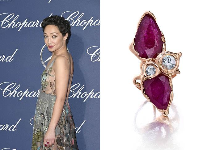 Ruth Negga at the Palm Springs International Film Festival in a Gemfields ruby, diamond and pink gold ring from the Gemfields x Muse collectionPhoto by David Crotty/Patrick McMullan via Getty Images and jewel courtesy
