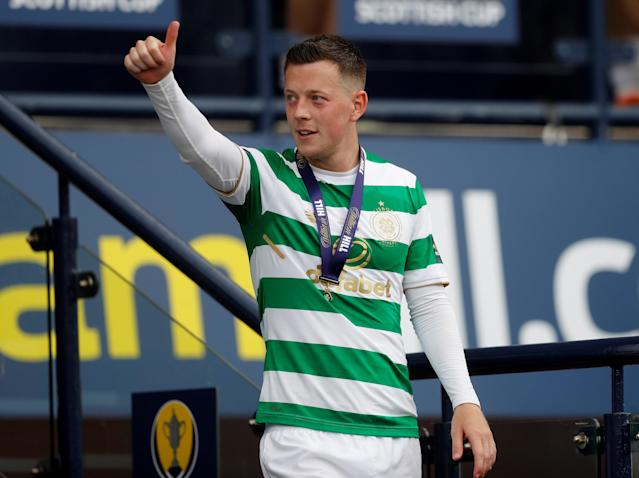 Soccer Football - Scottish Cup Final - Celtic vs Motherwell - Hampden Park, Glasgow, Britain - May 19, 2018 Celtic's Callum McGregor celebrates after winning the Scottish Cup REUTERS/Russell Cheyne