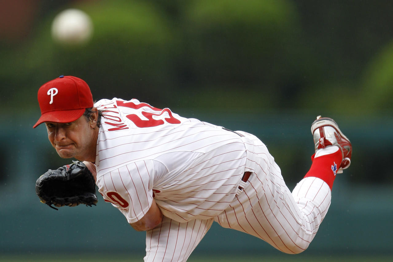 Philadelphia Phillies' Jamie Moyer pitches in the first inning of a baseball game against the Cleveland Indians, Tuesday, June 22, 2010, in Philadelphia. (AP Photo/Matt Slocum)