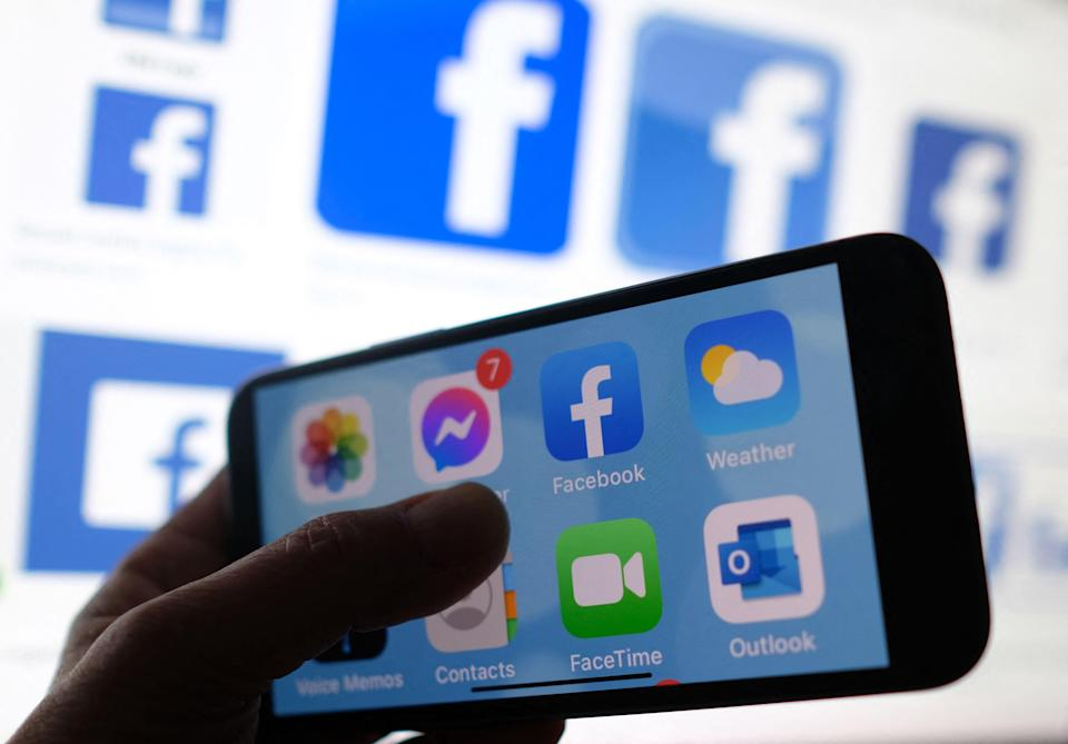 Social media apps on a smartphone in Los Angeles on March 1, 2021.