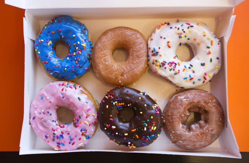 FILE PHOTO: A box of donuts is pictured at a newly opened Dunkin' Donuts store in Santa Monica