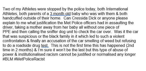 Linford Christie has accused the Met Police of racism after two of his althetes were stopped and searched (Linford Christie/Twitter)