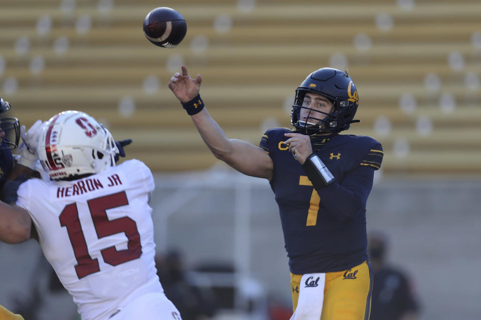 California quarterback Chase Garbers throws a pass against Stanford during the first half of an NCAA college football game Friday, Nov. 27, 2020, in Berkeley, Calif. (AP Photo/Jed Jacobsohn)