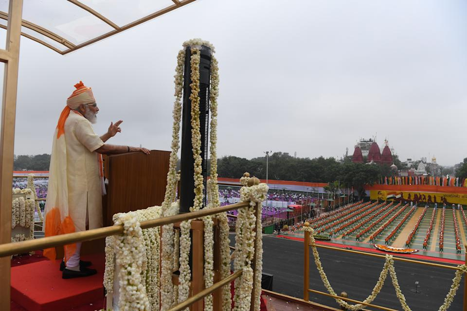 Prime Minister Narendra Modi delivers a speech to the nation during a ceremony to celebrate India's 74th Independence Day, which marks the of the end of British colonial rule, at the Red Fort in New Delhi on August 15, 2020.(Photo by PRAKASH SINGH/AFP via Getty Images)