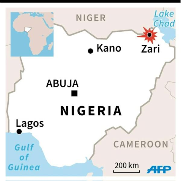 Map of Nigeria locating Zari where the death toll from a Boko Haram attack on an army post has risen from 30 to 48, military sources say
