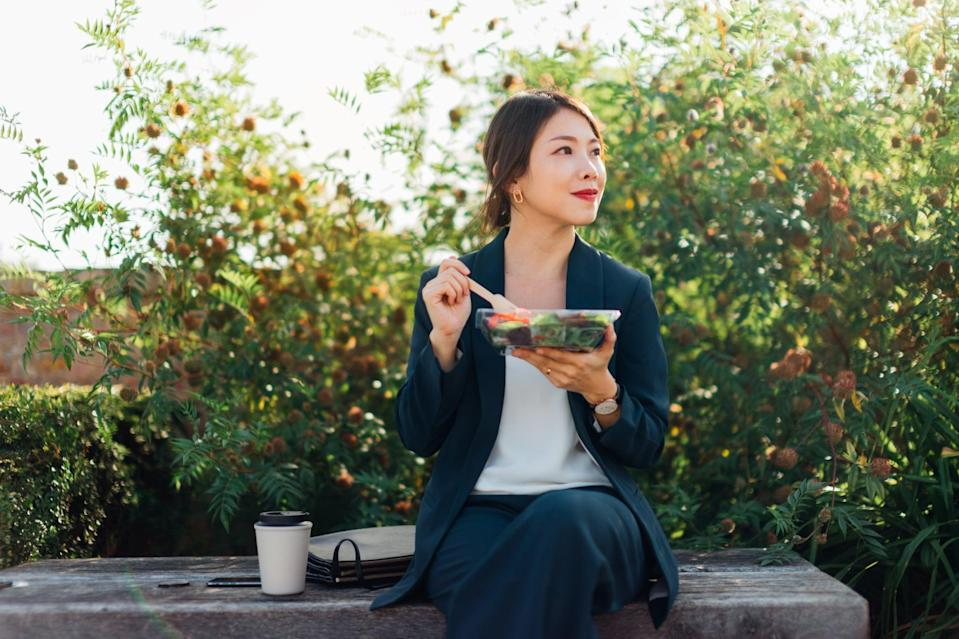 """<p>Rushing through your meals can lead to overeating and even take a toll on your digestive system. Enhancing the cephalic phase - the time just before you take a bite, when you can see, smell, and anticipate your food - boosts secretions in the stomach and eases digestion, explained <a href=""""http://drmikedow.com/"""" class=""""link rapid-noclick-resp"""" rel=""""nofollow noopener"""" target=""""_blank"""" data-ylk=""""slk:Mike Dow"""">Mike Dow</a>, PsyD, PhD, a best-selling author and psychotherapist at <a href=""""https://www.fieldtriphealth.com/"""" class=""""link rapid-noclick-resp"""" rel=""""nofollow noopener"""" target=""""_blank"""" data-ylk=""""slk:Field Trip Health"""">Field Trip Health</a>. """"As you bring the piece of food near the lips, make sure you mindfully savor the smell,"""" Dr. Dow said. """"Notice the salivation that is present, even before the food enters the mouth.""""</p>"""