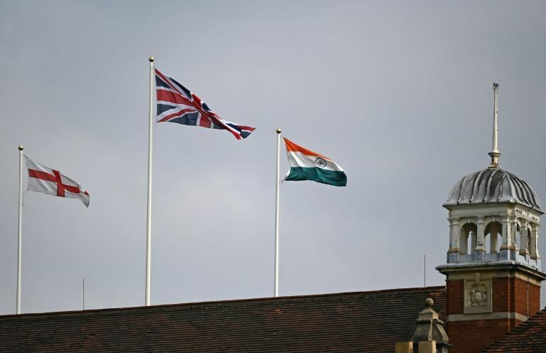 Multiple identities: The flags of (L-R) England, Britain and India flutter above the Oval pavilion on Thursday's first day of the fourth Test (AFP/DANIEL LEAL-OLIVAS)