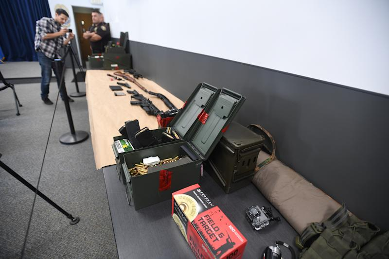 LONG BEACH, CA - AUGUST 21: Long Beach police announced the arrest of 37-year-old Rodolfo Montoya for making threats of violence against his workplace, the Marriott Long Beach near the airport in Long Beach on Wednesday, August 21, 2019. Police searched the suspects home and seized this into evidence, multiple weapons along with hundreds of rounds of ammunition and tactical gear. (Photo by Brittany Murray/MediaNews Group/Long Beach Press-Telegram via Getty Images)