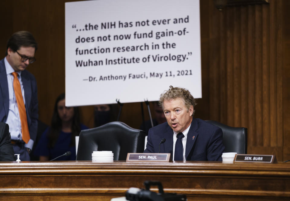 Sen. Rand Paul, R-Ky., questions Dr. Anthony Fauci at a Senate Health Committee hearing on Tuesday.