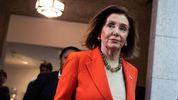 PHOTO: Speaker of the House Nancy Pelosi arrives for a meeting of the House Democratic Caucus in the Capitol, Dec. 4, 2019. (Tom Williams/CQ Roll Call via Newscom)