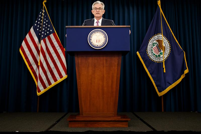WASHINGTON , June 19, 2019 -- U.S. Federal Reserve Chairman Jerome Powell speaks at a press conference in Washington D.C., the United States, on June 19, 2019. The U.S. Federal Reserve on Wednesday left interest rates unchanged as officials weighed mixed signals on the health of the U.S. economy and the impact of trade tensions. (Photo by Ting Shen/Xinhua via Getty) (Xinhua/Ting Shen via Getty Images)