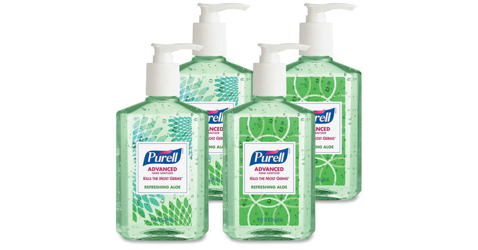 Purell Advanced Hand Sanitizer Soothing Gel with Aloe and Vitamin E , 8 fl oz Pump Bottle (Pack of 4) (Photo: Amazon)