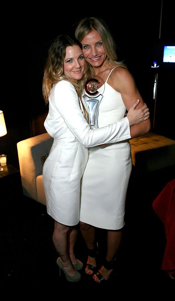 """<a href=""""http://movies.yahoo.com/movie/contributor/1800016287"""">Drew Barrymore</a> and <a href=""""http://movies.yahoo.com/movie/contributor/1800020297"""">Cameron Diaz</a> attend the 2011 CinemaCon Awards in Las Vegas, Nevada on March 30, 2011."""