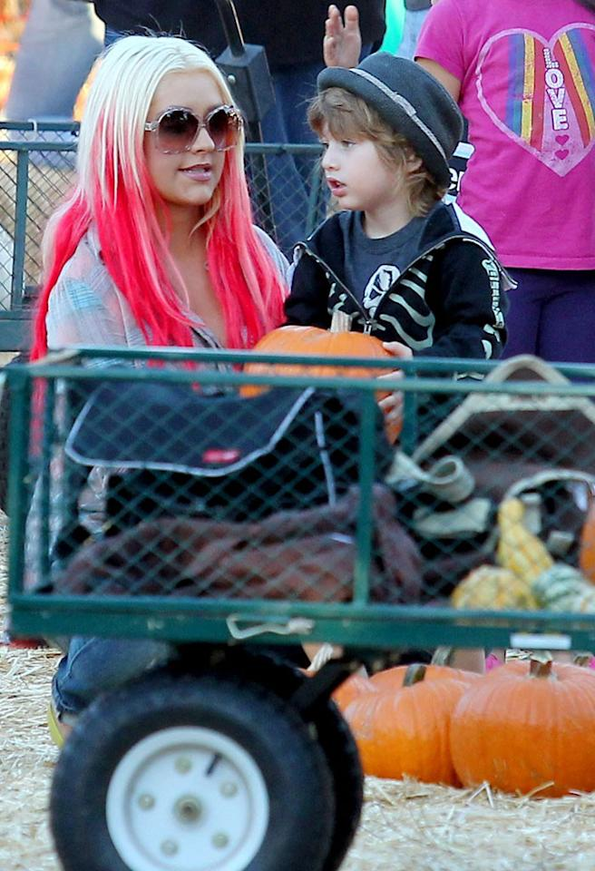 Christina Aguilera and boyfriend Matthew Rutler get into the halloween spirit by taking her son Max to Mr. Bones Pumpkin Patch