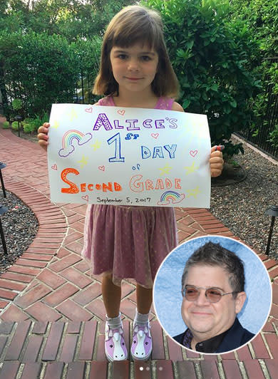 "<p>Patton Oswalt's daughter, Alice, marked her first day of second grade — and received extra support from her soon-to-be stepmother, Meredith Salenger. Patton's fiancée posted this pic of Alice in her unicorn shoes and wrote, ""My muppet's first day of 2nd grade!!! Emotional for me!!! And so awesome for her!"" (Photos: <a href=""https://www.instagram.com/p/BYr9EC7jyiU/?hl=en&taken-by=meredithsalenger"" rel=""nofollow noopener"" target=""_blank"" data-ylk=""slk:Meredith Salenger via Instagram"" class=""link rapid-noclick-resp"">Meredith Salenger via Instagram</a>/Getty Images) </p>"