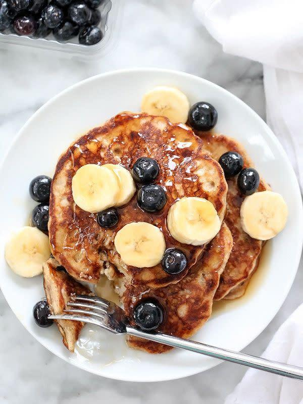 "<strong>Get the <a href=""http://www.foodiecrush.com/2015/01/best-banana-bread-pancakes/"" rel=""nofollow noopener"" target=""_blank"" data-ylk=""slk:Banana Bread Pancakes recipe"" class=""link rapid-noclick-resp"">Banana Bread Pancakes recipe</a> from Foodie Crush</strong>"