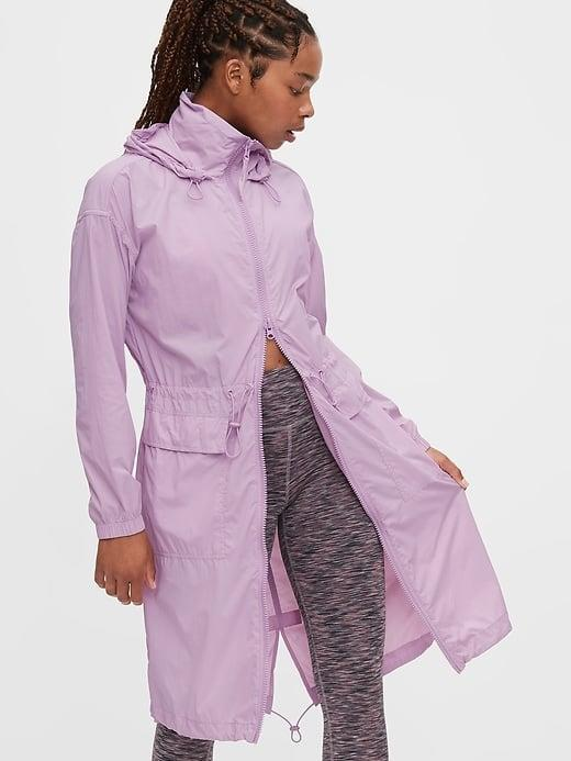 <p>Purple's so pretty for this water-resistant <span>Gap GapFit Upcycled Parka</span> ($76, originally $128).</p>