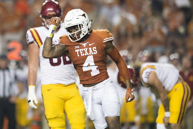 """After leaving Texas early, <a class=""""link rapid-noclick-resp"""" href=""""/nfl/players/31160/"""" data-ylk=""""slk:DeShon Elliott"""">DeShon Elliott</a> was selected in the NFL draft by the Baltimore Ravens. (Photo by Cooper Neill/Getty Images)"""