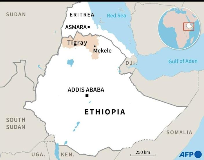 A map of Eritrea and Ethiopia locating Mekele