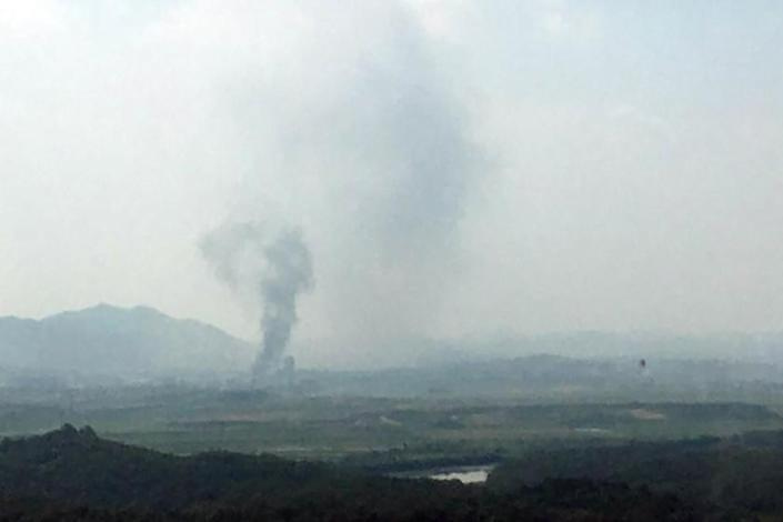 Smoke rises in the North Korean border town of Kaesong on Tuesday.