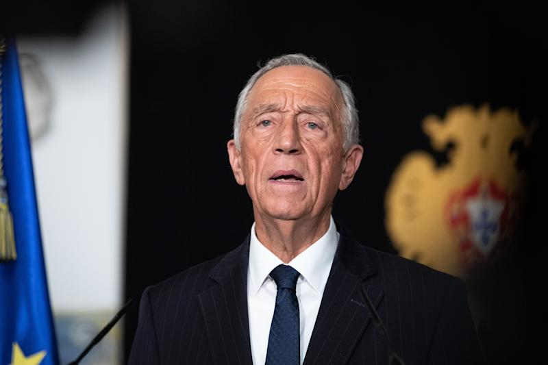 """LISBON, March 18, 2020 . Portuguese President Marcelo Rebelo de Sousa speaks during a televised national speech in Lisbon, Portugal, March 18, 2020. The president declared on Wednesday in a televised national speech a """"state of emergency"""" in a bid to contain the spread of COVID-19, the disease caused by the new coronavirus. The state of emergency, the first of its kind in the Portuguese history, can be extended for another 15 days, according to the Portuguese law. The number of positive COVID-19 cases in Portugal rose to 642 on Wednesday, 194 more than on the previous day, according to the Directorate-General for Health ,DGS. (Photo from Xinhua via Getty) (Xinhua/Wen Xinnian via Getty Images)"""