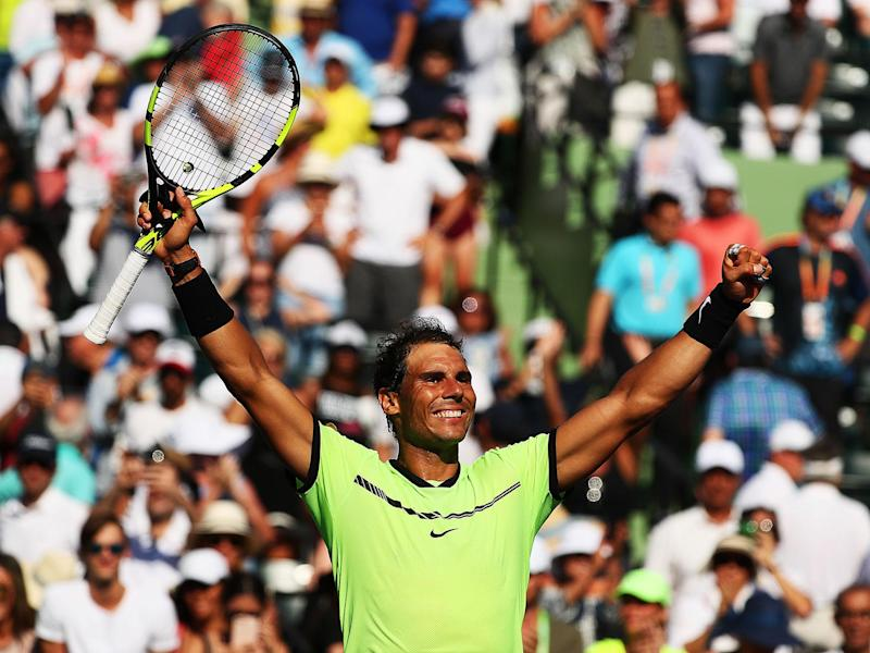 Rafael Nadal continued his good form in Miami with a win over Jack Sock: Getty
