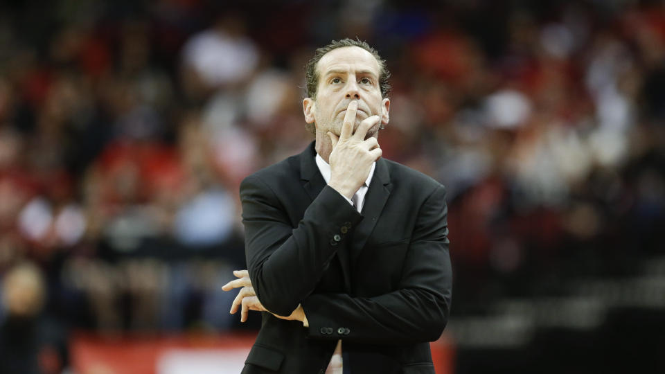 Brooklyn Nets head coach Kenny Atkinson walks the sideline during the first half of an NBA basketball game against the Houston Rockets, Saturday, Dec. 28, 2019, in Houston. (AP Photo/Eric Christian Smith)