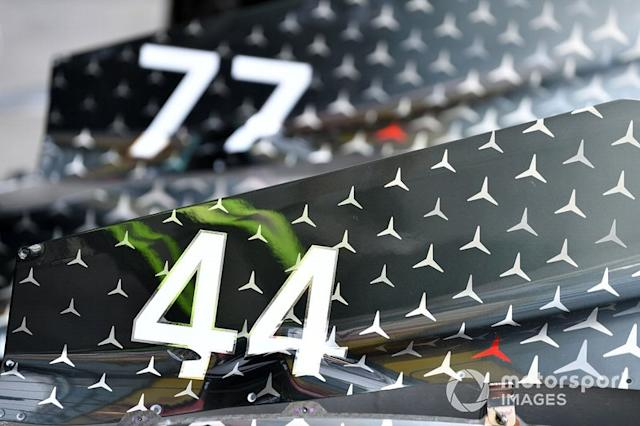 """Lewis Hamilton's race number on his Mercedes F1 W11 <span class=""""copyright"""">Mark Sutton / Motorsport Images</span>"""