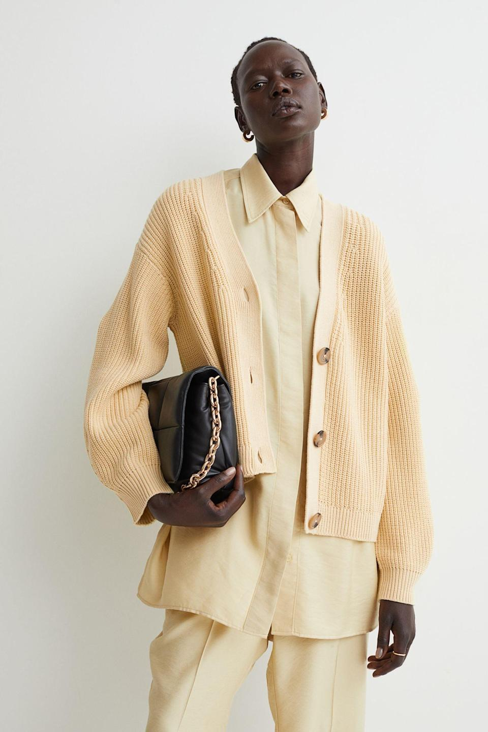 <p>Who says your fall closet can't be colorful? If you hesitate to wear bright shades, then consider this <span>Rib-knit Cardigan</span> ($17, originally $20) as a soft introduction. We love it paired with this yellow two-piece set; what a stunning monochrome look.</p>