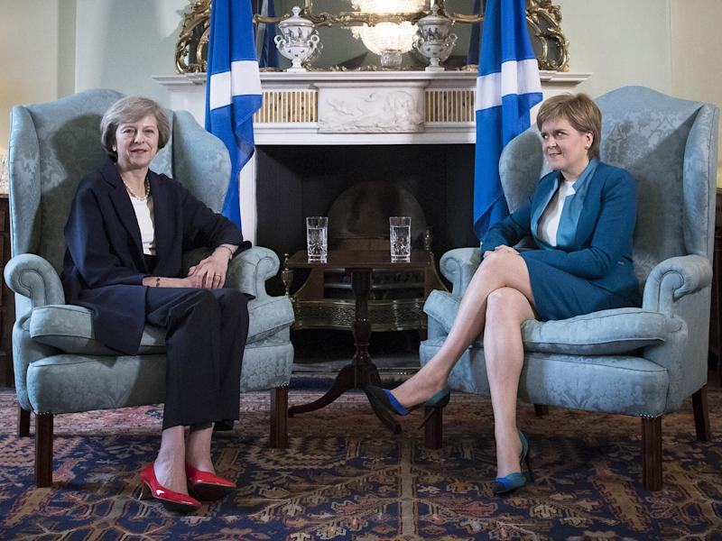 British Prime Minister Theresa May meeting First Minister of Scotland, Nicola Sturgeon at Bute House: Reuters