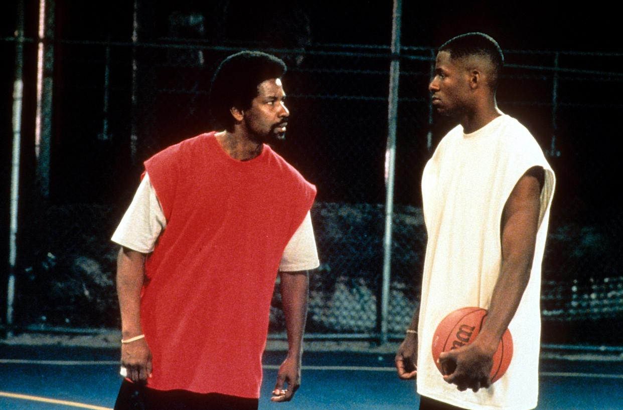 Denzel Washington and another man in a scene from the film 'He Got Game', 1998. (Photo by 20th Century-Fox/Getty Images)