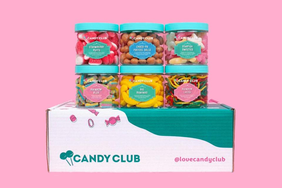 """If you have a sweet tooth, you <em>need</em> this box. Subscribers get a happy box bursting with curated candies. In one box, for example, you might find cookies n' cream bites, pineapple rings, lemonade straws, blue razz sour belts, cupcake bites, and watermelon slices. You always get six awesome candies, cutely packaged and ready to <a href=""""https://www.glamour.com/gallery/best-snack-subscription-boxes?mbid=synd_yahoo_rss"""" rel=""""nofollow noopener"""" target=""""_blank"""" data-ylk=""""slk:snack on"""" class=""""link rapid-noclick-resp"""">snack on</a>. $29.99, Candy Club. <a href=""""https://www.candyclub.com/checkout/choose-plan"""" rel=""""nofollow noopener"""" target=""""_blank"""" data-ylk=""""slk:Get it now!"""" class=""""link rapid-noclick-resp"""">Get it now!</a>"""