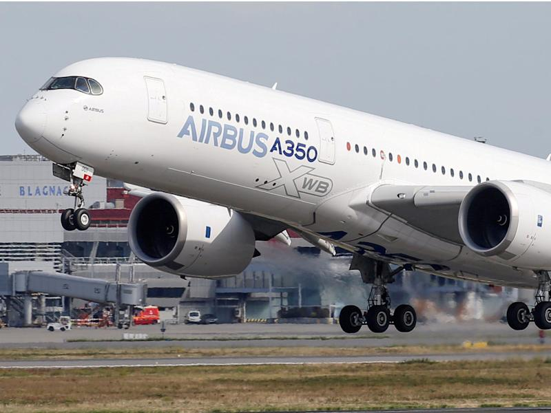 FILE PHOTO: An Airbus A350 takes off at the aircraft builder's headquarters in Colomiers near Toulouse, France, September 27, 2019. REUTERS/Regis Duvignau/File Photo