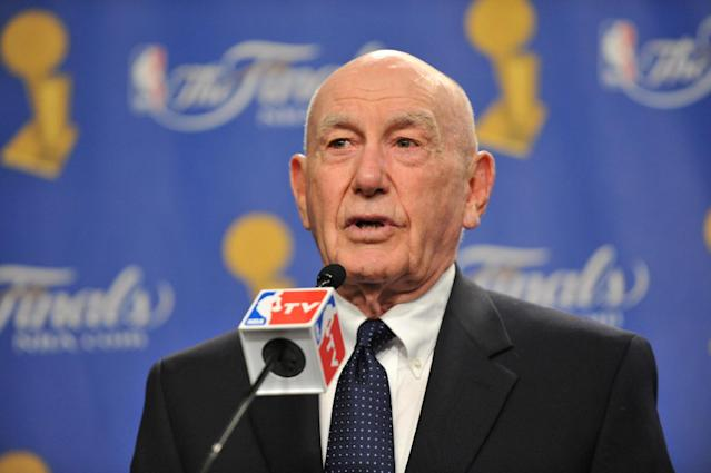 LOS ANGELES - JUNE 6: Dr. Jack Ramsay speaks at the Chuck Daly Lifetime Achievement Award prior to Game Two of the 2010 NBA Finals on June 6, 2010 at Staples Center in Los Angeles, California. (Photo by Garrett Ellwood/NBAE via Getty Images)