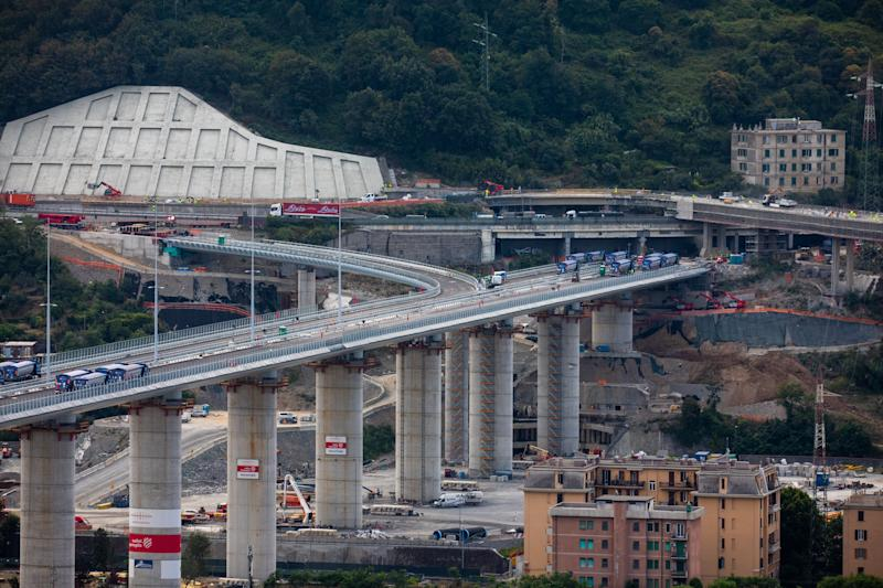 "A general view of the operation of the final test of the new bridge built after the collapse of the historical ""Ponte Morandi"", in Genoa, Italy, on July 20, 2020. The original bridge collapsed making more than 43 victims in August 2018 and the new one is expected to reopen in the early day of August 2020. (Photo by Mauro Ujetto/NurPhoto via Getty Images) (Photo: NurPhoto via Getty Images)"