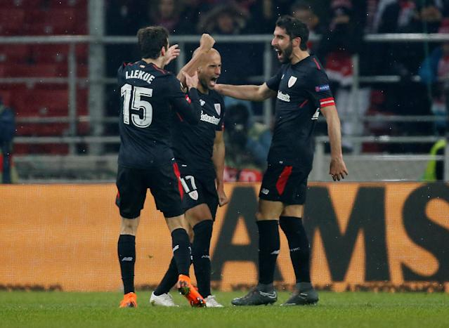 Soccer Football - Europa League Round of 32 First Leg - Spartak Moscow vs Athletic Bilbao - Otkrytiye Arena, Moscow, Russia - February 15, 2018 Athletic Bilbao's Mikel Rico celebrates with Inigo Lekue and Raul Garcia after scoring their third goal REUTERS/Maxim Shemetov