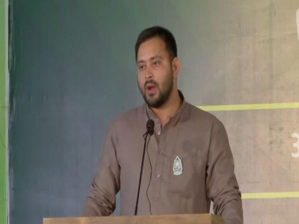 RJD leader Tejashwi Yadav speaking at the event on Tuesday. Photo/ANI