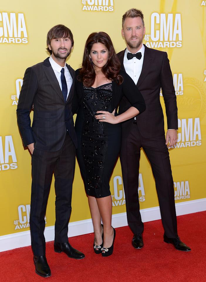NASHVILLE, TN - NOVEMBER 01:  (L-R) Dave Haywood, Hillary Scott and Charles Kelley of Lady Antebellum attend the 46th annual CMA Awards at the Bridgestone Arena on November 1, 2012 in Nashville, Tennessee.  (Photo by Jason Kempin/Getty Images)