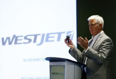 President and CEO of Westjet Airlines Saretsky addresses shareholders during the company's annual general meeting in Calgary
